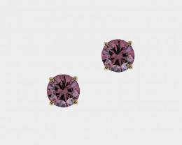 Lavender Spinel Stud Earrings, Brilliant Cut,14k Yellow Gold