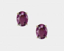 Grape Garnet Stud Earrings, 14k Yellow Gold, Oval Cut