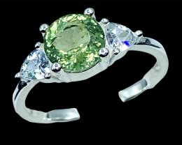 1.92ct.Exquisite Natural Green Apatite Gemstone Silver925Ring.DAP542