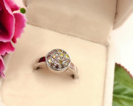 Stylish Natural  Yellow ,,light Brown Diamond ~ Sterling Silver 925 Ring