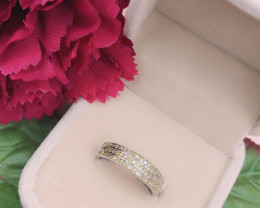 Natural Yellow Diamond 0.36 Cts Modern Style  ~ Sterling Silver 925 Ring