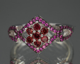 AAA Natural Rhodolite Garnet & Color CZ Silver Ring Unique Design
