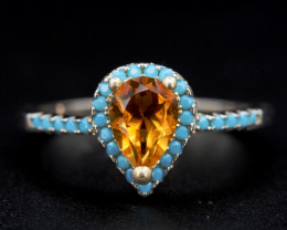 Beautiful Natural Citrine & Color CZ  Silver Ring