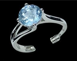 1.41ct.Exquisite Natural Aquamarine Gemstone Silver925Ring.DAQ547