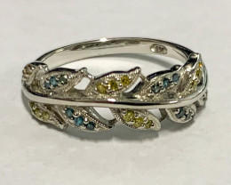 Natural  Diamond Yellow , Blue 0.16 Cts Modern Style ~ Sterling Silver 925
