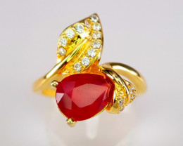 Gold Plated Natural Ruby Ring