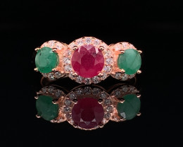 Gorgoues Natural Ruby, Emerald with CZ Ring in Rose Gold silver925