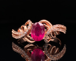 Gorgoues Natural Ruby with CZ Ring in Rose Gold silver925