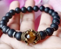 Natural Black Matte Agate, Tiger Eye & Hematite Handmade Bracelet Unheated