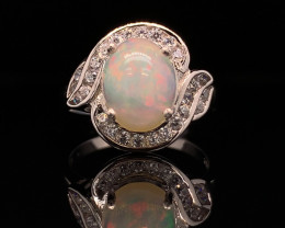Top class jewelry Natural Red Fire Opal ring with White CZ in  Silver 925.