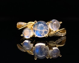 Top class jewelry Natural Fire Moonstone  ring with White CZ in  Silver Ros