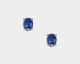 Sapphire Stud Earrings, 14k Yellow Gold, Oval Cut
