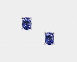 Sapphire Stud Earrings, 14k White Gold, Oval Cut