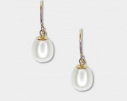 Baroque Pearl Drop Earrings, 14k Yellow Gold