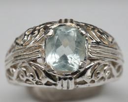 Natural Aquamarine 19.70 Carats 925 Silver Ring