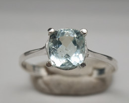 Natural Blue Aquamarine 9.30 Carats Silver Ring