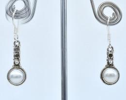PEARL EARRINGS 925 STERLING SILVER NATURAL GEMSTONE AE1277