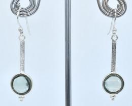 GREEN AMETHYST EARRINGS 925 STERLING SILVER NATURAL GEMSTONE AE1281