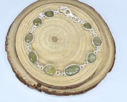 GREEN AMETHYST BRACELET NATURAL GEM 925 STERLING SILVER AB235