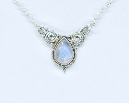 RAINBOW MOONSTONE NECKLACE NATURAL GEM 925 STERLING SILVER AN231