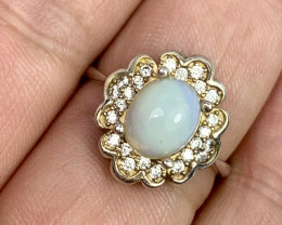 Natural 19.00 Carats fire Opal 925 Silver Ring