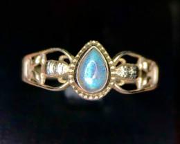 *NR*Dazzling Natural Labradorite Silver 925 Ring