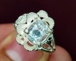 Natural Blue Aquamarine 12.40 Carats Hand Made Ring