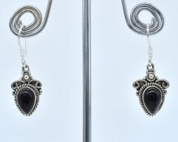BLACK ONYX EARRINGS 925 STERLING SILVER NATURAL GEMSTONE AE1287