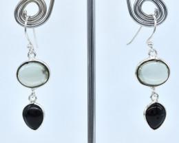 BLACK ONYX/AMETHYST  EARRINGS 925 STERLING SILVER NATURAL GEMSTONE AE1297