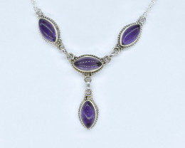 AMETHYST NECKLACE NATURAL GEM 925 STERLING SILVER AN237