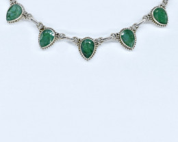 EMERALD NECKLACE NATURAL GEM 925 STERLING SILVER AN241