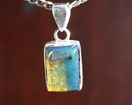 Lovely Natural Clear Deep Blue Amber .925 Sterling Silver Pendant