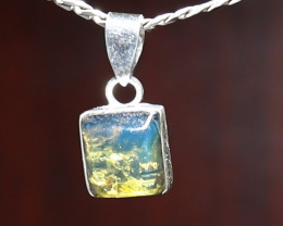 Exquisite Natural Clear Sky Blue Amber .925 Sterling Silver Pendant