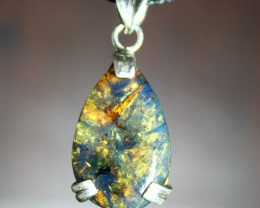 Dominican Natural Translucent Ocean Blue Amber .925 Sterling Silver Pendant