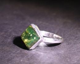 Charming Design Natural Clear Ocean Green Amber .925 Sterling Silver Ring #