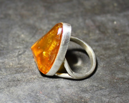 Dominican Natural Crystal Clear Orange Amber .925 Sterling Silver Ring #7 ½