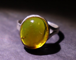 Beautiful Natural Clear Yellow Green Amber .925 Sterling Silver Ring #6 ½