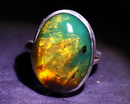 Charming Design Natural Clear Deep Green Amber .925 Sterling Silver Ring #8