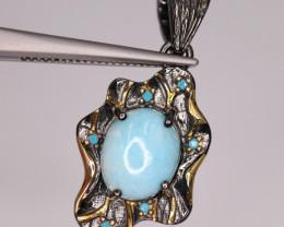 Elegant Natural Larimar & 925 Fancy Sterling Silver Pendant