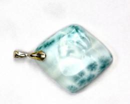 Finest Natural Light Blue Larimar .925 Sterling Silver Pendant