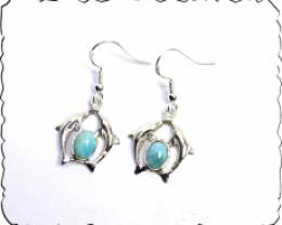 Lovely Sky Blue Larimar .925 Sterling Silver Dolphin Earrings 1.6inch