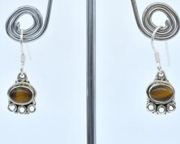 TIGER EYE EARRINGS 925 STERLING SILVER NATURAL GEMSTONE AE1302