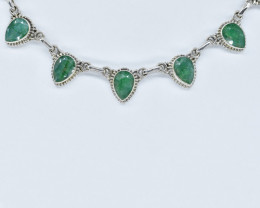 EMERALD NECKLACE NATURAL GEM 925 STERLING SILVER AN244