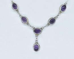 AMETHYST NECKLACE NATURAL GEM 925 STERLING SILVER AN245
