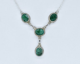 EMERALD NECKLACE NATURAL GEM 925 STERLING SILVER AN246