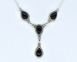 BLACK ONYX NECKLACE NATURAL GEM 925 STERLING SILVER AN247