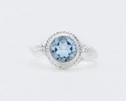 BLUE TOPAZ RING 925 STERLING SILVER NATURAL GEMSTONE AR1780