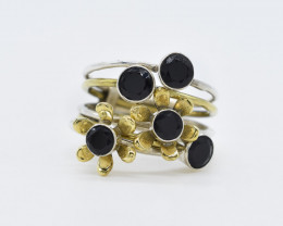 BLACK ONYX RING 925 STERLING SILVER NATURAL GEMSTONE AR1782