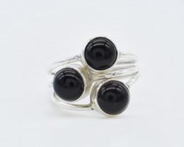 BLACK ONYX RING 925 STERLING SILVER NATURAL GEMSTONE AR1796