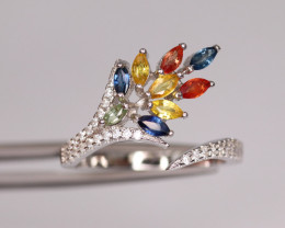 Gorgeous Natural Multi Sapphire, CZ & 925 Fancy Sterling Silver Ring